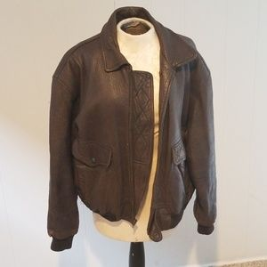 Vintage Leather Bomber Jacket Mens Brown Coat
